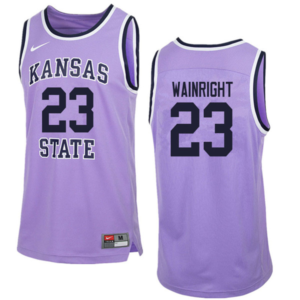 Men #23 Amaad Wainright Kansas State Wildcats College Retro Basketball Jerseys Sale-Purple