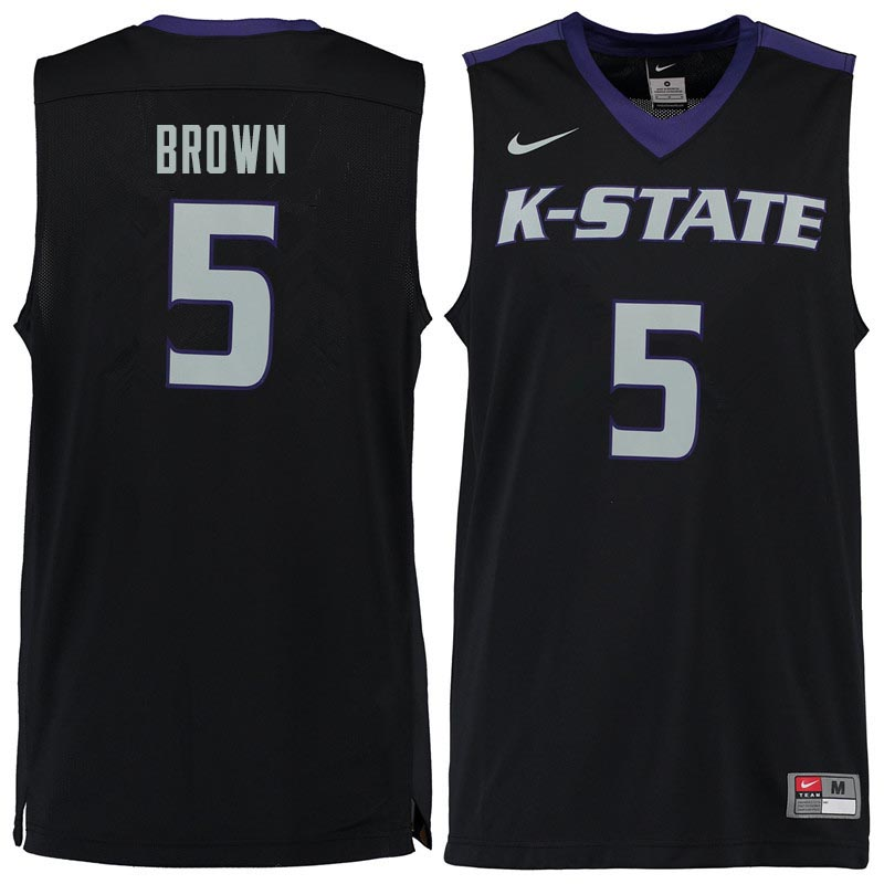 Men #5 Barry Brown Kansas State Wildcats College Basketball Jerseys Sale-Black