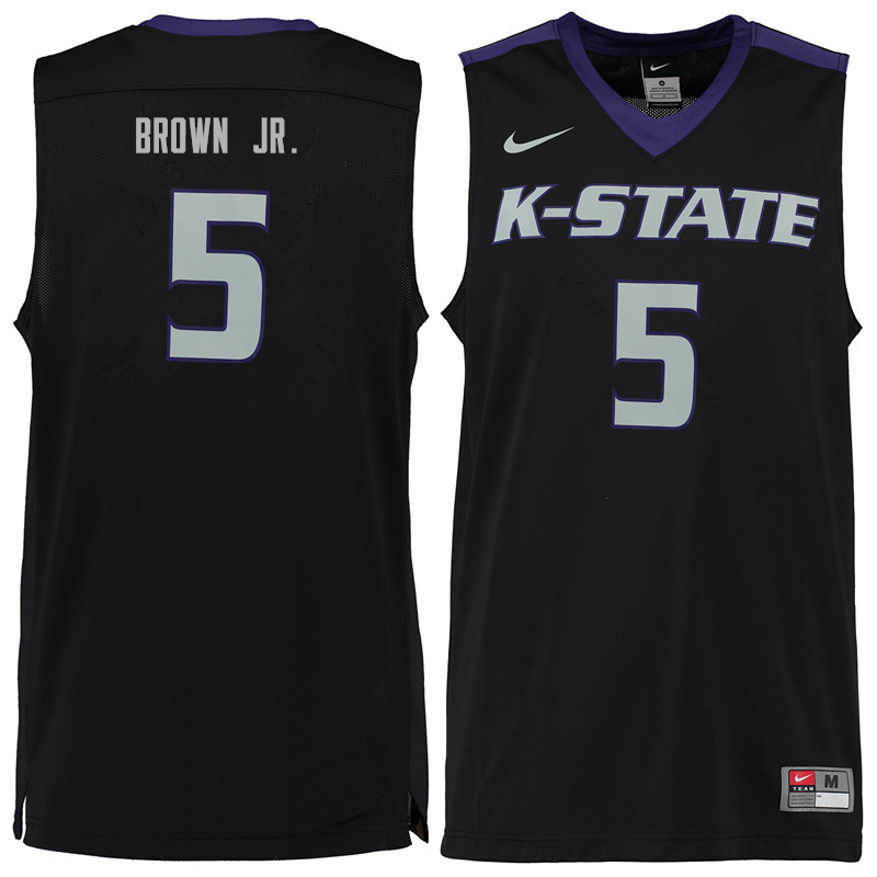 Men #5 Barry Brown Jr. Kansas State Wildcats College Basketball Jerseys Sale-Black