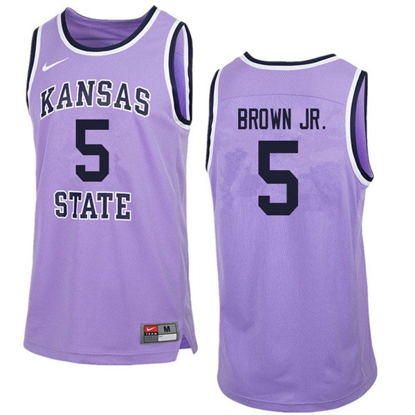 Men #5 Barry Brown Jr. Kansas State Wildcats College Retro Basketball Jerseys Sale-Purple