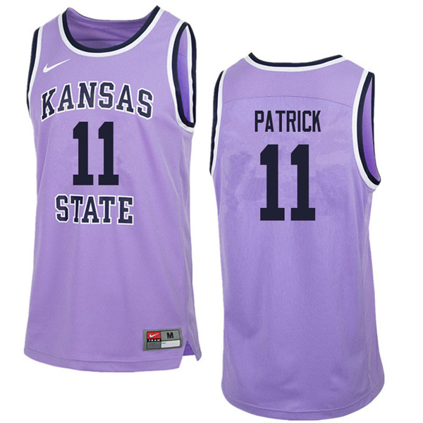 Men #11 Brian Patrick Kansas State Wildcats College Retro Basketball Jerseys Sale-Purple