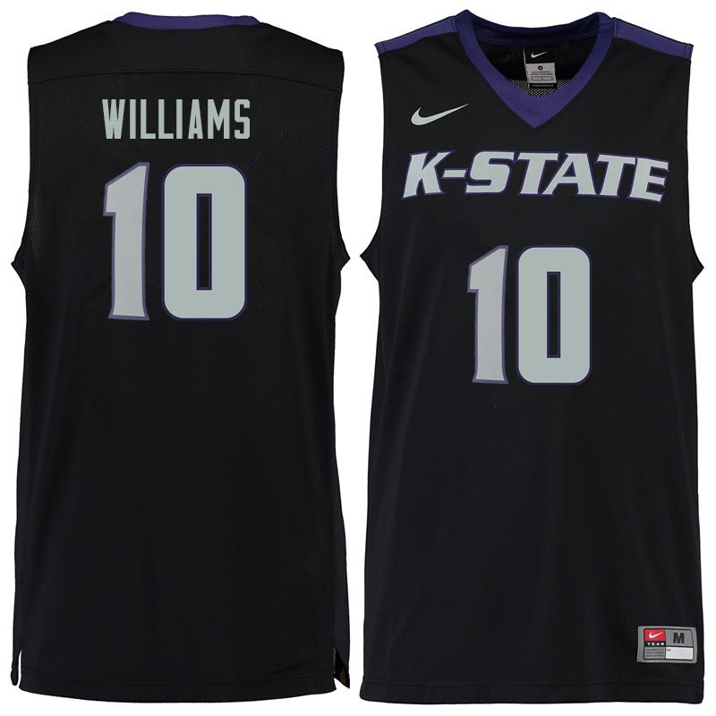 Men #10 Chuckie Williams Kansas State Wildcats College Basketball Jerseys Sale-Black