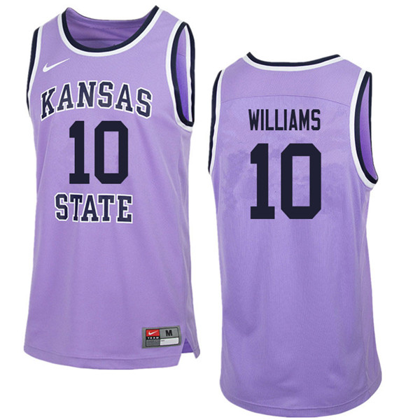 Men #10 Chuckie Williams Kansas State Wildcats College Retro Basketball Jerseys Sale-Purple