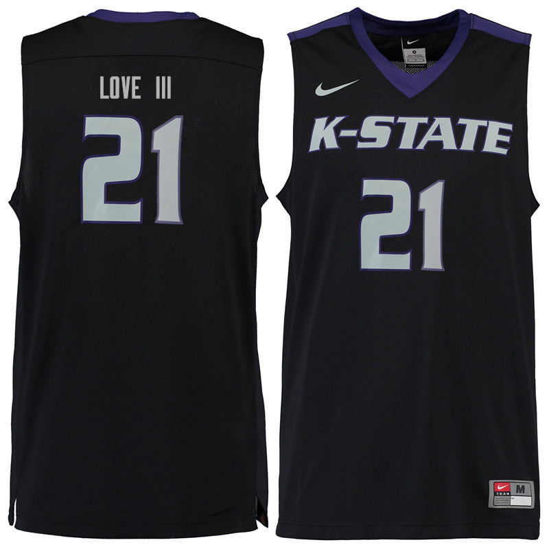 Men #21 James Love III Kansas State Wildcats College Basketball Jerseys Sale-Black