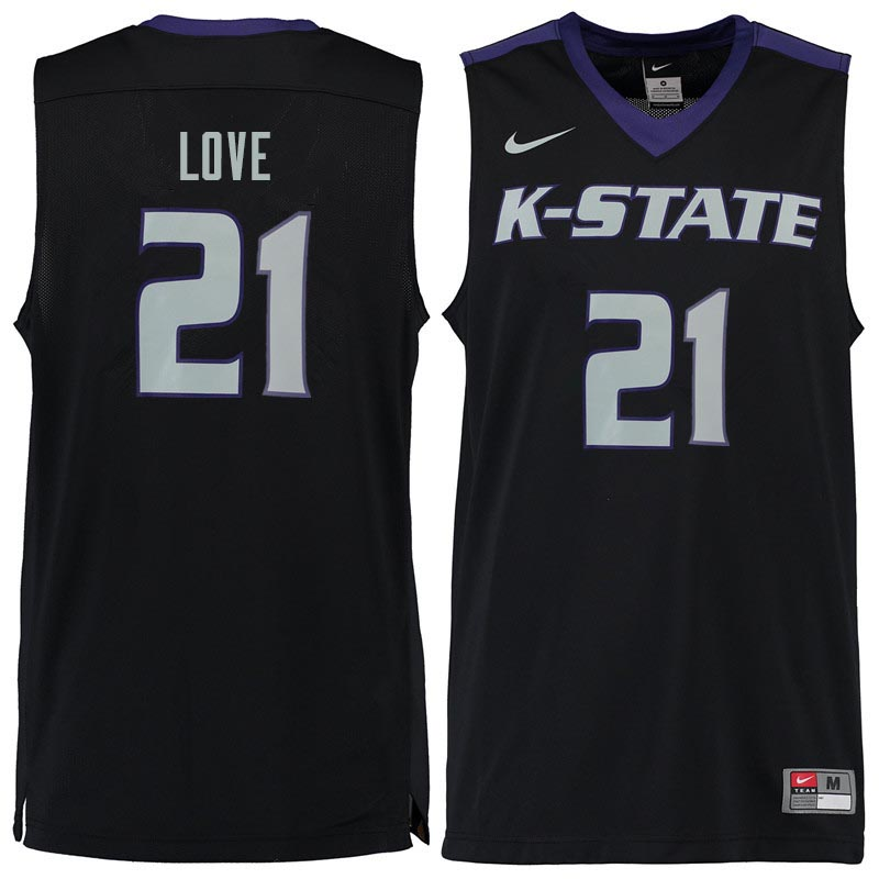 Men #21 James Love Kansas State Wildcats College Basketball Jerseys Sale-Black