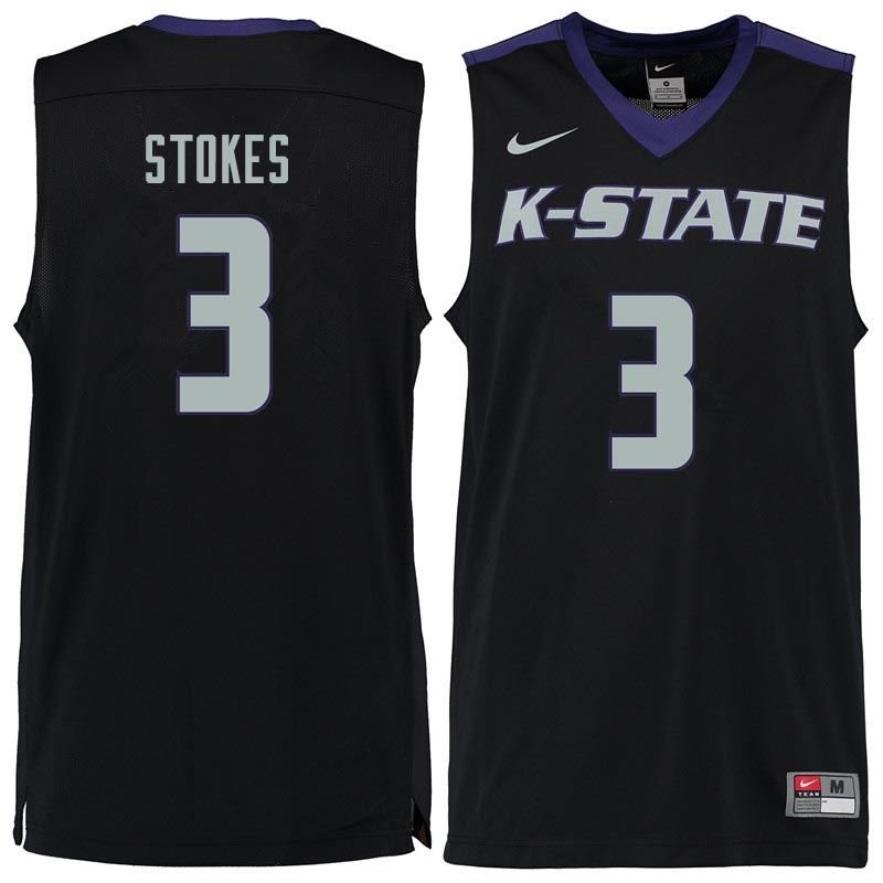 Men #3 Kamau Stokes Kansas State Wildcats College Basketball Jerseys Sale-Black