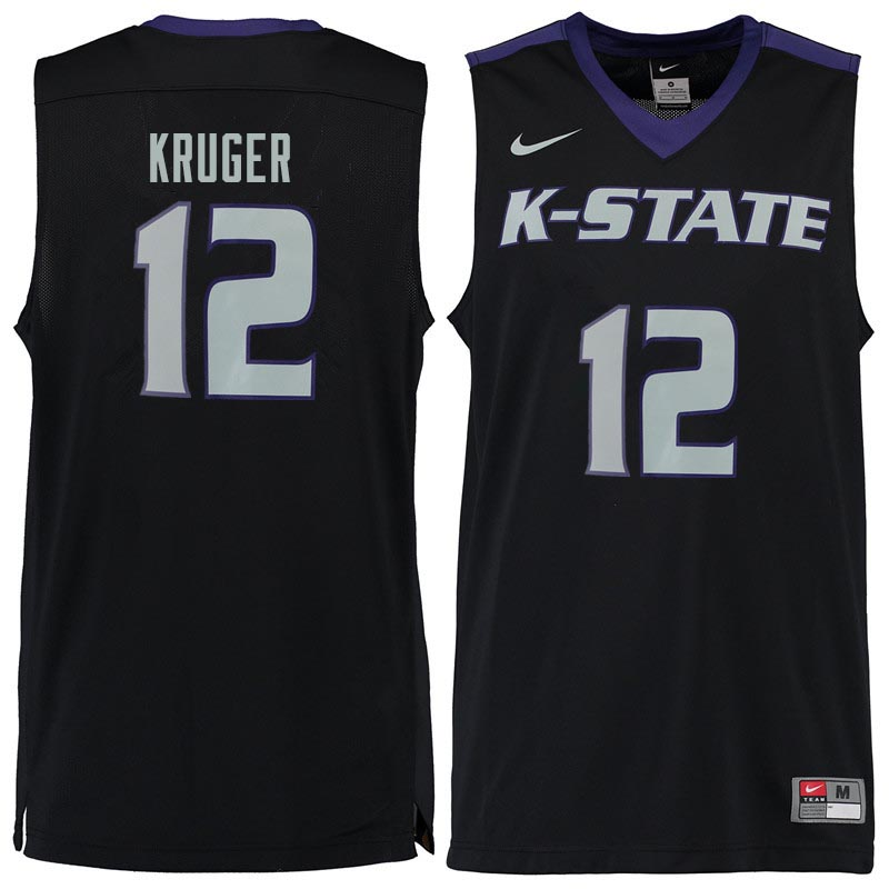 Men #12 Lon Kruger Kansas State Wildcats College Basketball Jerseys Sale-Black
