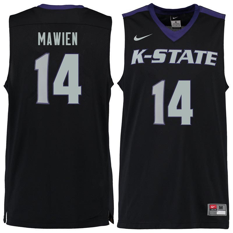 Men #14 Makol Mawien Kansas State Wildcats College Basketball Jerseys Sale-Black