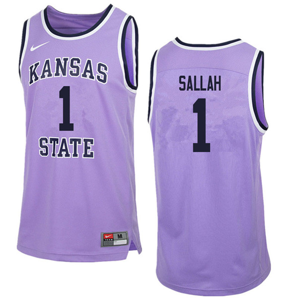 Men #1 Mawdo Sallah Kansas State Wildcats College Retro Basketball Jerseys Sale-Purple