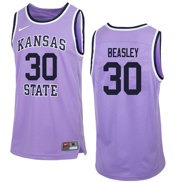 Men #30 Michael Beasley Kansas State Wildcats College Retro Basketball Jerseys Sale-Purple