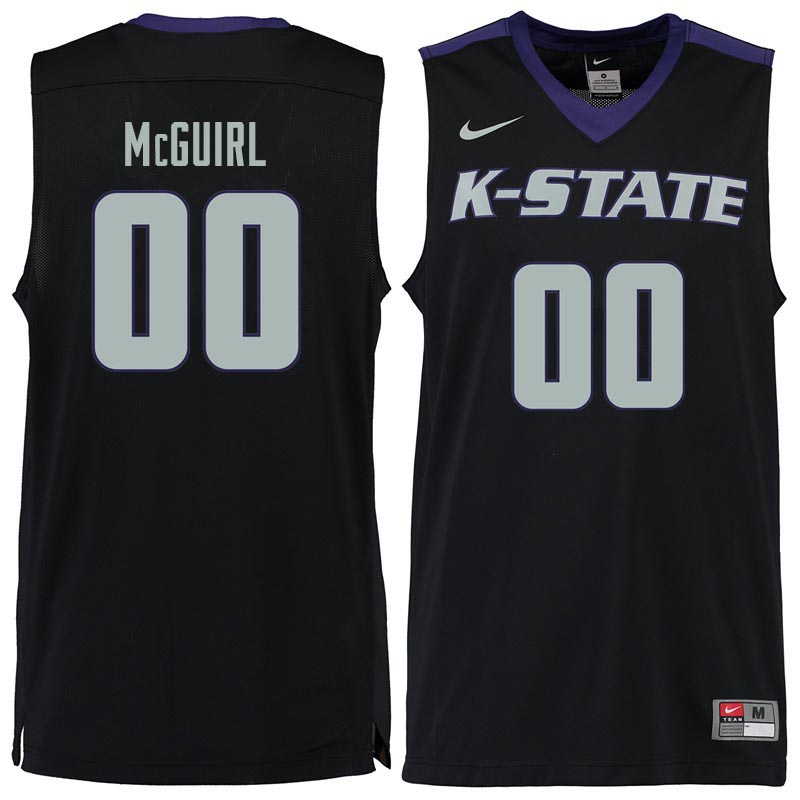Men #00 Mike McGuirl Kansas State Wildcats College Basketball Jerseys Sale-Black