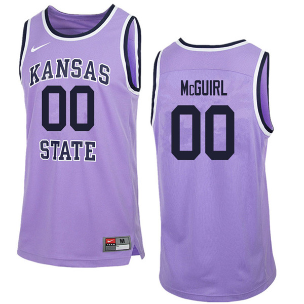 Men #00 Mike McGuirl Kansas State Wildcats College Retro Basketball Jerseys Sale-Purple