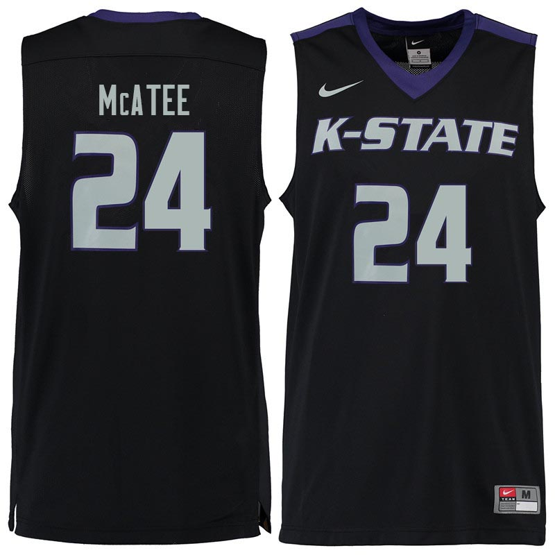 Men #24 Pierson McAtee Kansas State Wildcats College Basketball Jerseys Sale-Black