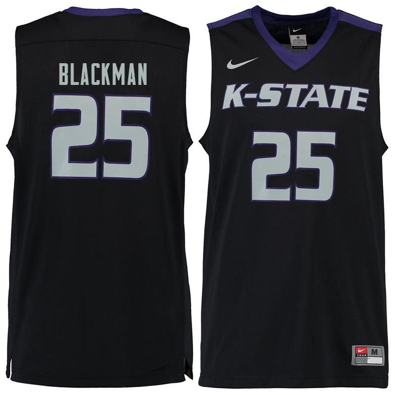 Men #25 Rolando Blackman Kansas State Wildcats College Basketball Jerseys Sale-Black