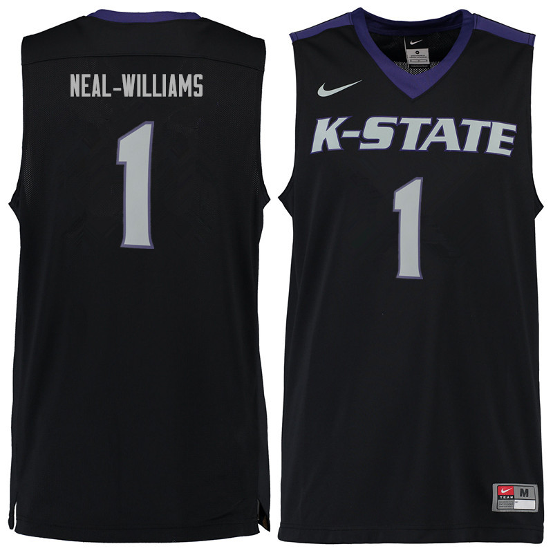 Men #1 Shaun Neal-Williams Kansas State Wildcats College Basketball Jerseys Sale-Black