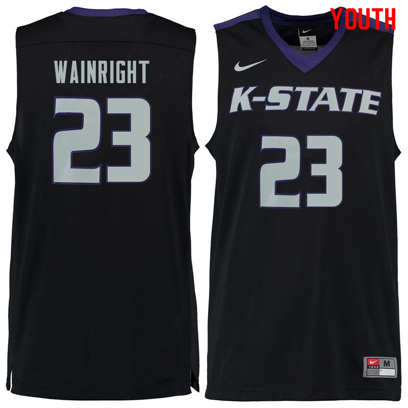 Youth #23 Amaad Wainright Kansas State Wildcats College Basketball Jerseys Sale-Black