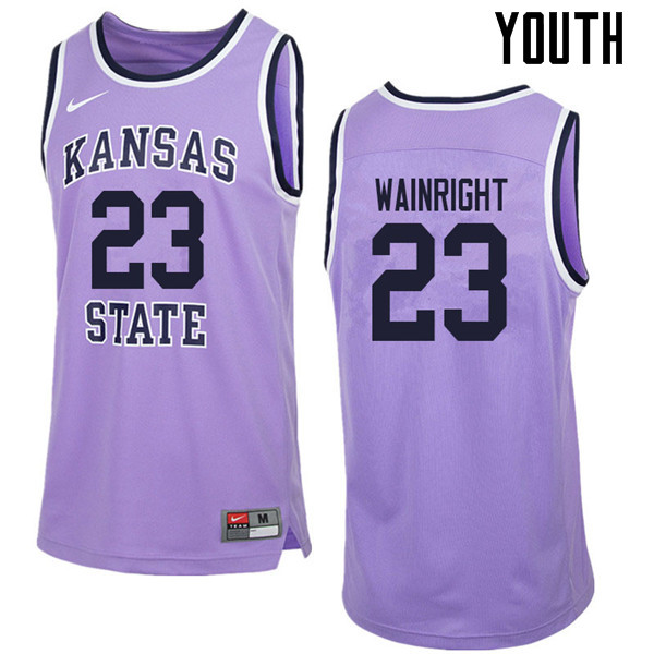 Youth #23 Amaad Wainright Kansas State Wildcats College Retro Basketball Jerseys Sale-Purple