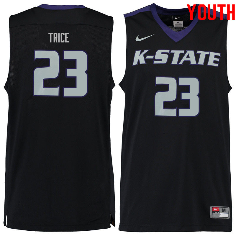 Youth #23 Austin Trice Kansas State Wildcats College Basketball Jerseys Sale-Black