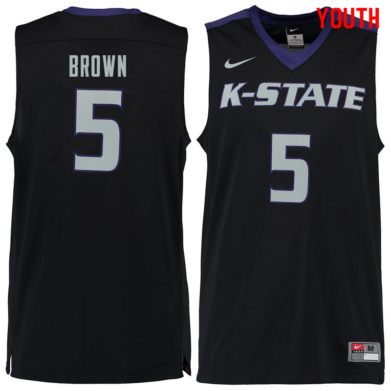 Youth #5 Barry Brown Kansas State Wildcats College Basketball Jerseys Sale-Black
