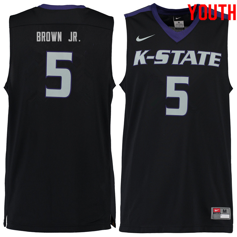 Youth #5 Barry Brown Jr. Kansas State Wildcats College Basketball Jerseys Sale-Black