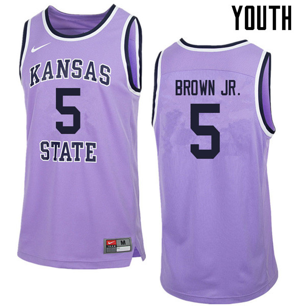 Youth #5 Barry Brown Jr. Kansas State Wildcats College Retro Basketball Jerseys Sale-Purple