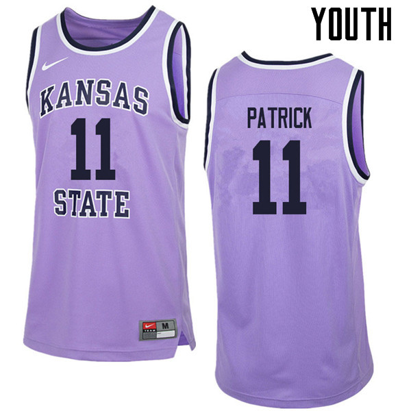 Youth #11 Brian Patrick Kansas State Wildcats College Retro Basketball Jerseys Sale-Purple