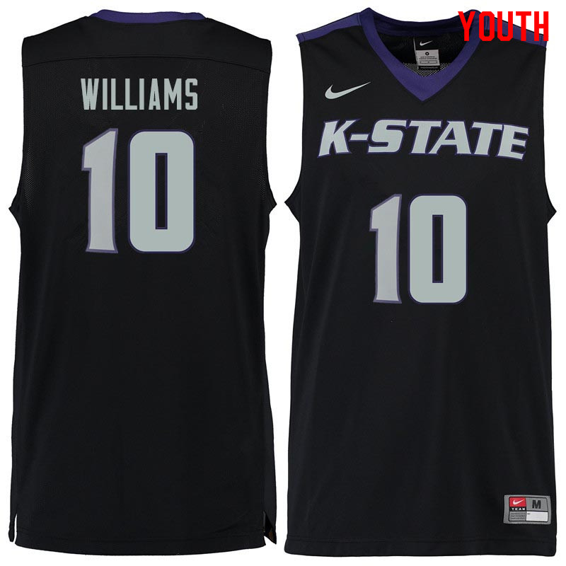 Youth #10 Chuckie Williams Kansas State Wildcats College Basketball Jerseys Sale-Black
