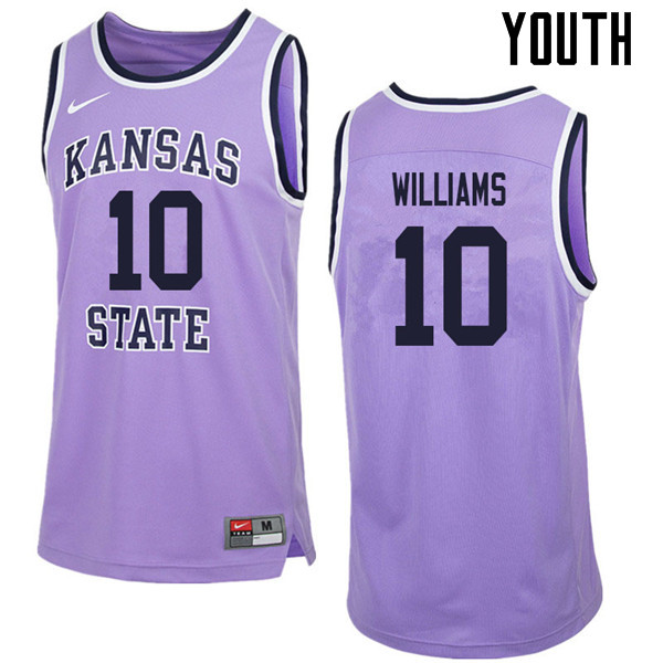 Youth #10 Chuckie Williams Kansas State Wildcats College Retro Basketball Jerseys Sale-Purple