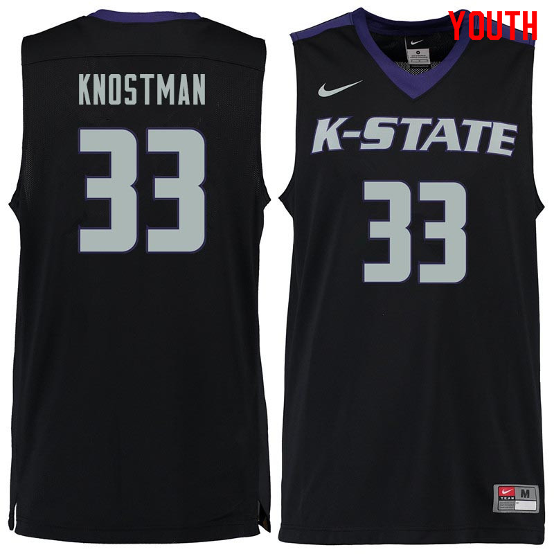 Youth #33 Dick Knostman Kansas State Wildcats College Basketball Jerseys Sale-Black
