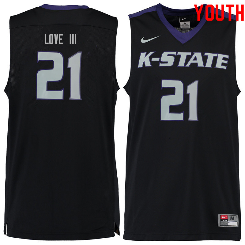 Youth #21 James Love III Kansas State Wildcats College Basketball Jerseys Sale-Black