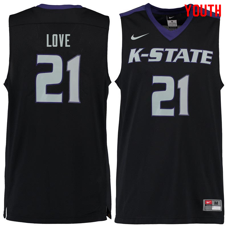 Youth #21 James Love Kansas State Wildcats College Basketball Jerseys Sale-Black