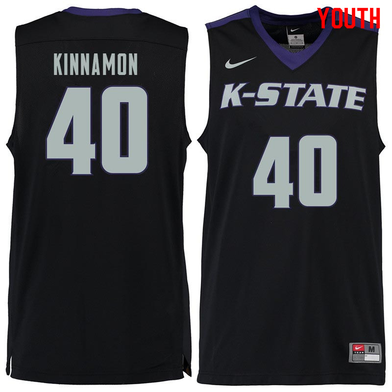 Youth #40 Kade Kinnamon Kansas State Wildcats College Basketball Jerseys Sale-Black