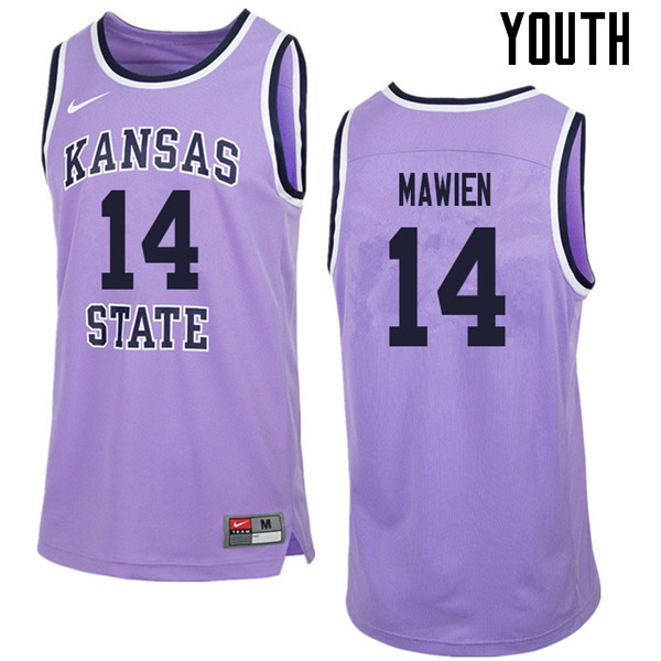 Youth #14 Makol Mawien Kansas State Wildcats College Retro Basketball Jerseys Sale-Purple