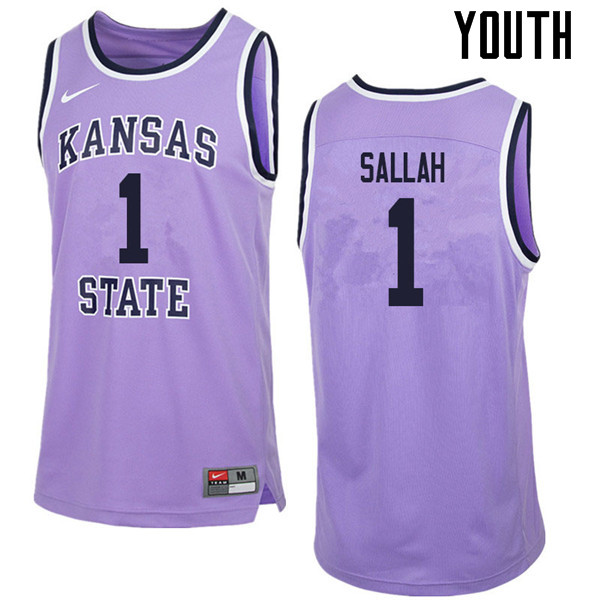 Youth #1 Mawdo Sallah Kansas State Wildcats College Retro Basketball Jerseys Sale-Purple