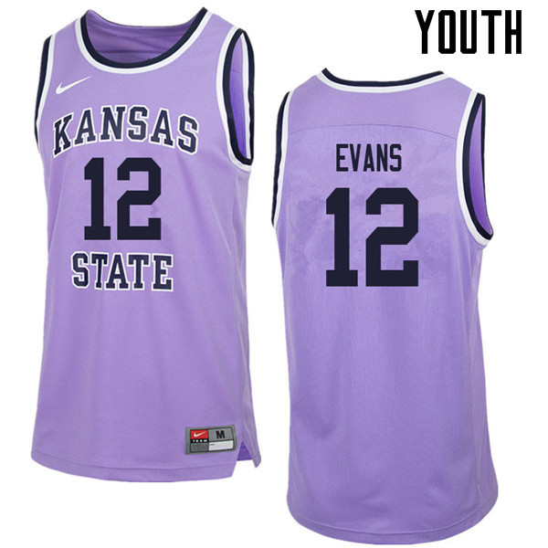 Youth #12 Mike Evans Kansas State Wildcats College Retro Basketball Jerseys Sale-Purple