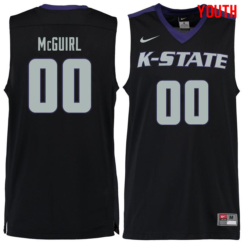 Youth #00 Mike McGuirl Kansas State Wildcats College Basketball Jerseys Sale-Black