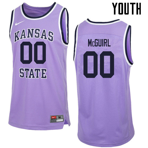 Youth #00 Mike McGuirl Kansas State Wildcats College Retro Basketball Jerseys Sale-Purple