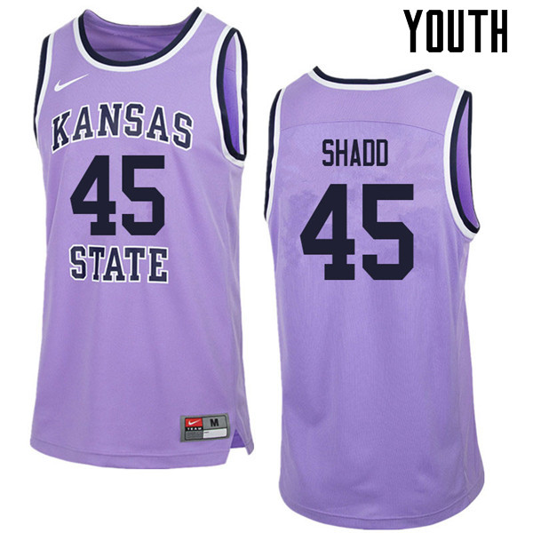 Youth #45 Nigel Shadd Kansas State Wildcats College Retro Basketball Jerseys Sale-Purple