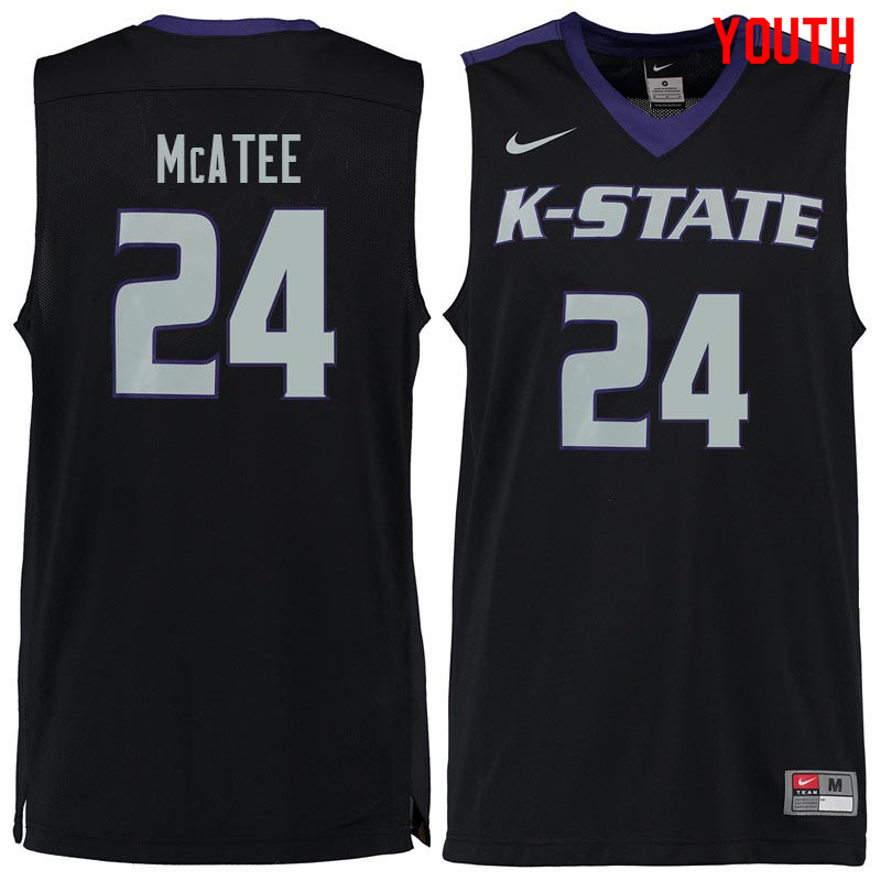 Youth #24 Pierson McAtee Kansas State Wildcats College Basketball Jerseys Sale-Black