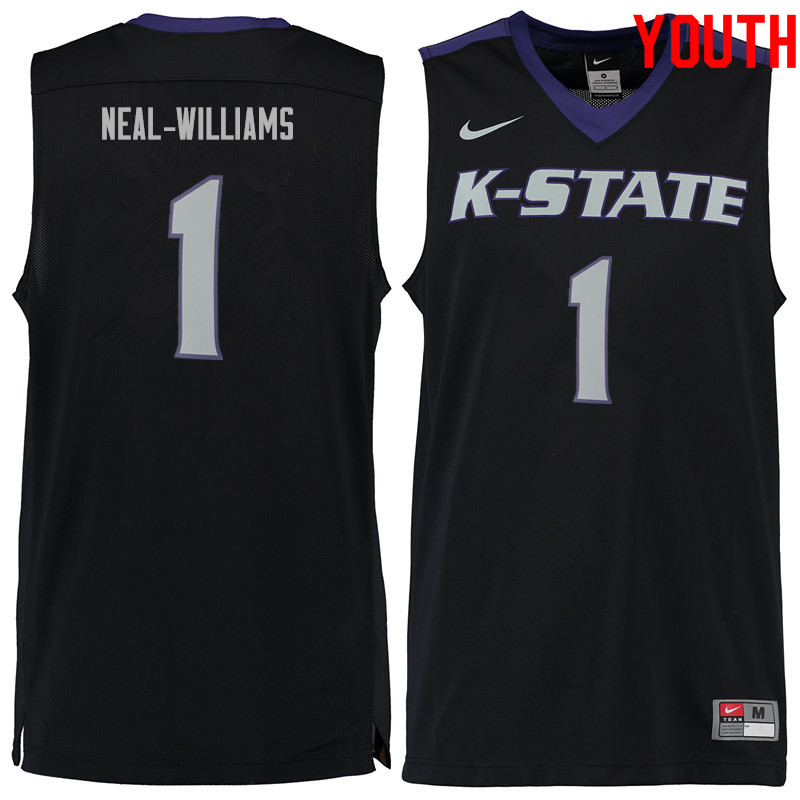 Youth #1 Shaun Neal-Williams Kansas State Wildcats College Basketball Jerseys Sale-Black