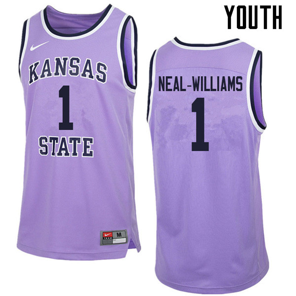 Youth #1 Shaun Neal-Williams Kansas State Wildcats College Retro Basketball Jerseys Sale-Purple