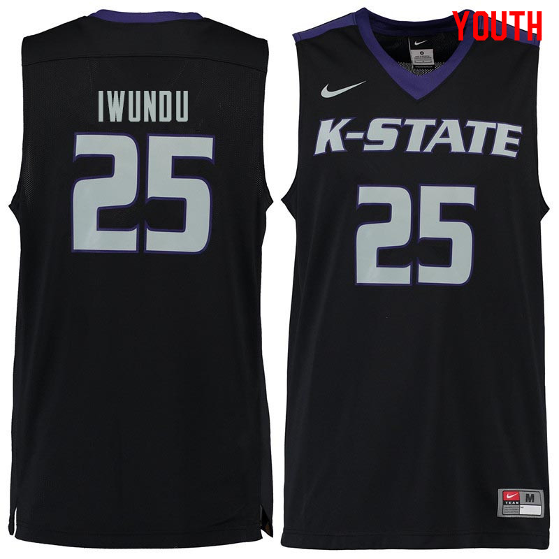 Youth #25 Wesley Iwundu Kansas State Wildcats College Basketball Jerseys Sale-Black